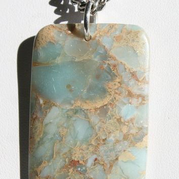 Men's Aqua Blue Jasper Statement Necklace, Snake Skin Jasper Pendant Jewelry, Masculine Gemstone Silver Chain Necklace, Men's Stone Jewelry