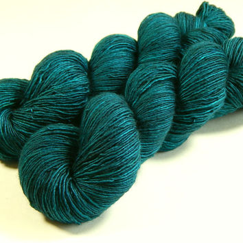 Hand Dyed Yarn - Sock Weight Superwash Merino Wool Singles Yarn - Deep Sea Tonal - Knitting Yarn, Sock Yarn, Single Ply Yarn, Wool Yarn