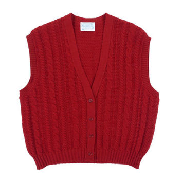 Vintage Pendleton Sweater Vest in Red - Cardigan Cable Knit V Neck Preppy Ivy League - Women's Size 2x Extra Large Xxl