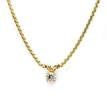 Women's Solitaire Diamond Pendant Necklace in 14k Yellow Gold (.25 ct tw)