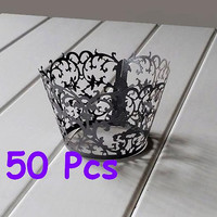Stencil classic flower cupcake holder black lace cake liners flower wrapper purple wrapping cake wrapper black wedding party wraps collars