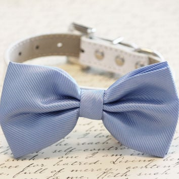 Blue Dog Bow Tie , High quality leather and Fabric, Wedding Dog Collar-Blue wedding accessory. Sky