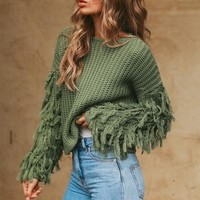 Long Sleeve Thick Needle Sweater Women Pullover Knitted Sweater Mujer Invierno Tassel Solid Jumpers