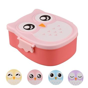 Outdoor Picnic Cute Owl Cartoon Lunch Box Kawaii Food Container Storage Box Portable Bento Box