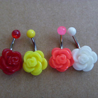 Beatiful Rose Flower Belly Button Ring,  Belly Ring,