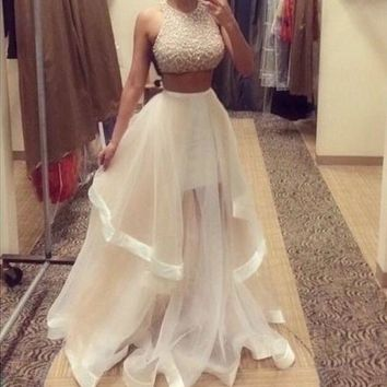 Champagne Two Piece Prom Dresses 2015 Custom Made Women Long Evening Party Dress = 5739470657