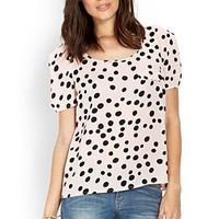 LOVE 21 Polka Dot Woven Top Pink/Black X-Small
