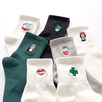 Cotton Socks For Women Harajuku Brief Cartoon Embroidery Patterns Socks For Women Stretch Unisex Accessories Calcetines Meias