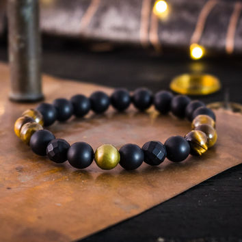 8mm - Matte black onyx & tiger eye stone beaded stretchy bracelet w/ bronze accent, made to order bracelet, mens bracelet, womens bracelet