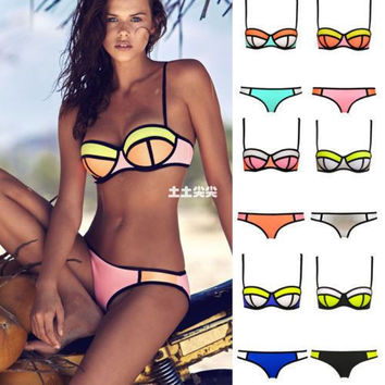 4c048307757 Womens Stylish Bikini Swimsuit Patchwork Swimwear