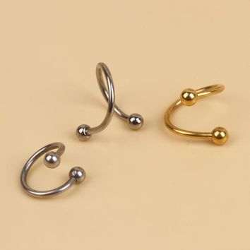 Charming Body Piercing Jewelry 1pcs Fashion Spiral Nose Lip Ear Ring Gold Silver Plated Body-0047
