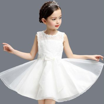 Children Girl Clothes Dressing Sleeveless Lace Dress Wedding Bridesmaid Bow-knot Dresses Party Fancy Costume J481