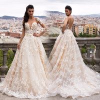 Gorgeous Sheer A-Line Backless Wedding Dresses 2017 Puffy Lace Applique Long Sleeves Wedding Gowns Robe De Mariage