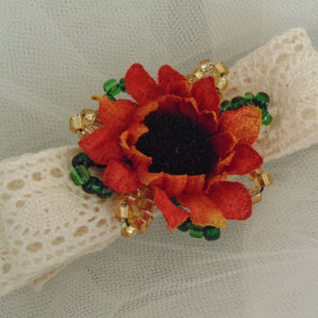 Orange Sunflower Barrette with Crocheted Lace