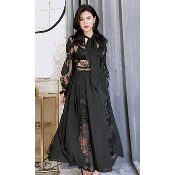 Taking Charge Sheer Mesh Lace Floral Pattern Feather Tie V Neck A Line Maxi Dress - 2 Colors Availale