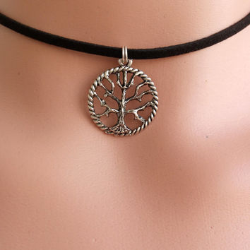 Choker Necklace with Charm  Charm Choker TREE OF LIFE Choker  Black Choker  Choker Charms  90s Grunge