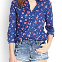 Blue Floral Print Pocket Shirt Collar Long Sleeve Blouse