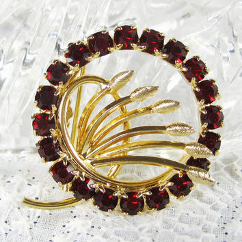 Vintage Rhinestone Brooch / Pin, Ruby Red Crystals, Wheat Sheaf, Leaf Cluster, Gold Circle Wreath, 1950s Mad Men, Nature Garden Jewelry