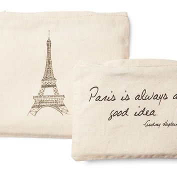 Paris Cosmetic Bags, Natural, Set of 2, Packing Sets