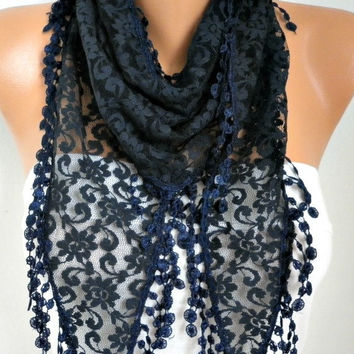 Dark Blue Lace Scarf Shawl Scarf Women Scarves Cowl Scarf Bridesmaid Gift Gift Ideas For Her Women Fashion Accessories Christmas Gift