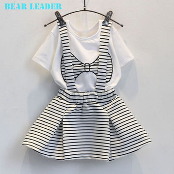 Bear Leader Girls Clothes 2016 Brand Girls Clothing Sets Kids Clothes Bowknot Pattern Toddler Girl Tops+Skirt 2PCS Suit 3-7Y