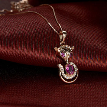 Fox 18k Rose Gold Rubellite Red Tourmaline Diamond Ruby Pendant Necklace Wedding Birthday Valentine's Mother's Day