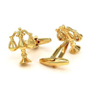 Men's Cufflinks bra Scales of Justice Gold Plated Shirt Studs Gift