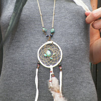 t'kope dream catcher feather necklace