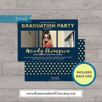 Dark Blue & Faux Gold Graduation Photocard, Graduation Announcement, Graduation Party Invitation,Graduation Invitation Printable, Grad Party