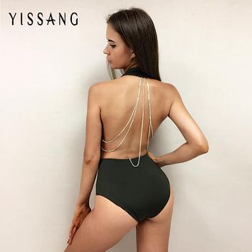 Yissang 2016 backless Bodysuit Sexy Black khaki solid Women Jumpsuit Bodysuits Overalls Chain drop shipping
