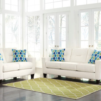 2 pc Forsan nuvella collection white fabric upholstered sofa and love seat set with squared arms