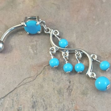 Turquoise Dangle Belly Button Jewelry Ring