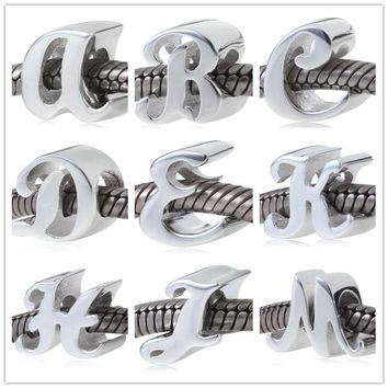 Pure silver jewelry woman 925 Sterling Silver alphabet Letter Charms A-P charm Beads F