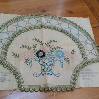 Vintage Embroidered Piece for Pillow Front No. 500 Trademarked JBK Great Decor Fabric Frame