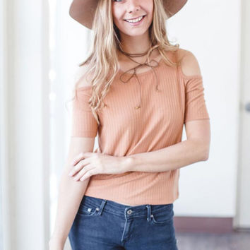 Apricot Cold Shoulder Tee