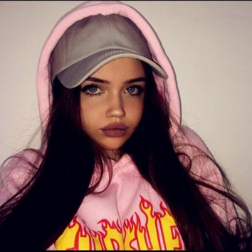 """""""Thrasher""""Thickening hoodie hooded cotton red flame red letters Pink"""