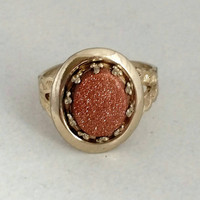 Vintage 10k Gold Filled Goldstone Filigree Ring, S 5.5 - Art Deco Nouveau / Boho Chic / Coppertone / Sparkly
