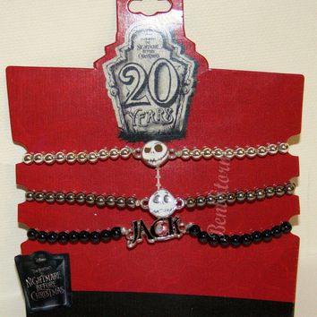 Licensed cool NEW Nightmare Before Christmas JACK 3 Stretchy Beads Bracelet  20th Anniversary