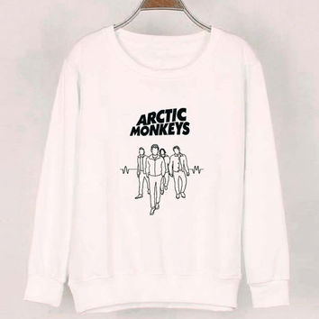 band arctic monkeys sweater White Sweatshirt Crewneck Men or Women for Unisex Size with variant colour