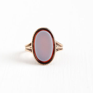 Antique Victorian 10k Rose Gold Banded Agate Ring - Vintage 1890s Size 4 Oval Light Purple Red Pink Gem Statement Unique Fine Jewelry