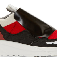 Red & Black Deconstructed Low-Top Sneakers