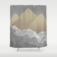 Silence is the Golden Mountain (Stay Gold) Shower Curtain by Soaring Anchor Designs