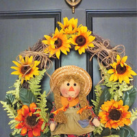 Primitive Sunflower Scarecrow Girl Doll Fall Grapevine Wreath