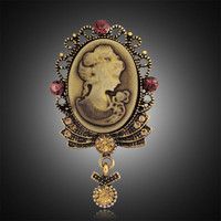 Beauty Queen Vintage Brooches Jewelry Women Accessories Gold Cameo Brooches Fashionable Safety Pin Rhinestone