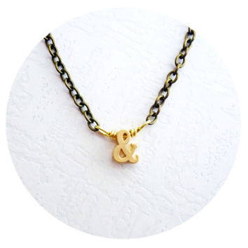 """Ampersand Necklace with Golden """"&"""" sign on Bronze Chain, Bridal Jewelry for Rustic Weddings, Ivory Weddings, Bride-to-be Gift Idea"""