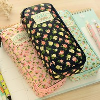 New Cute Floral Pencil Case PU Leather Pencil Box School Office Supplies Kawaii Stationery Cosmetic Bag Pouch Organize for Girls