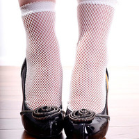 Retro Funky Sexy Hand Dyed Fishnet Mesh Ankle Socks White