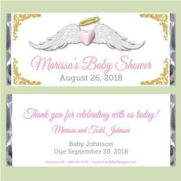 Thank Heaven Girl Baby Shower Candy Bar Wrappers