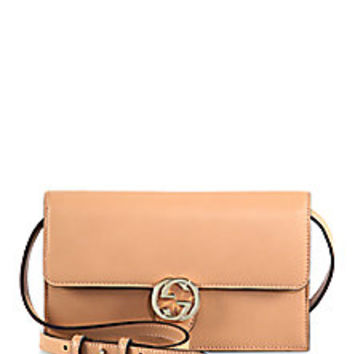 Gucci - Gucci Icon Leather Wallet with Strap - Saks Fifth Avenue Mobile