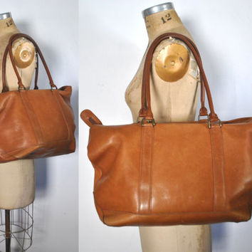 LL Bean Brown Leather Tote / weekender bag